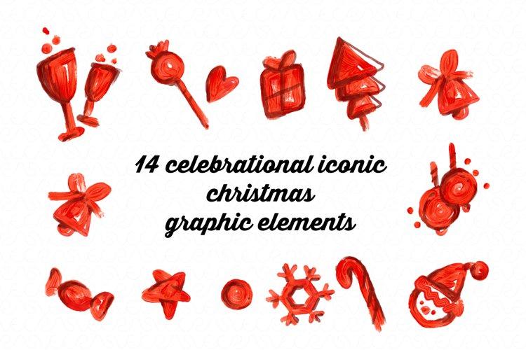 14 celebrational iconic Christmas graphic elements