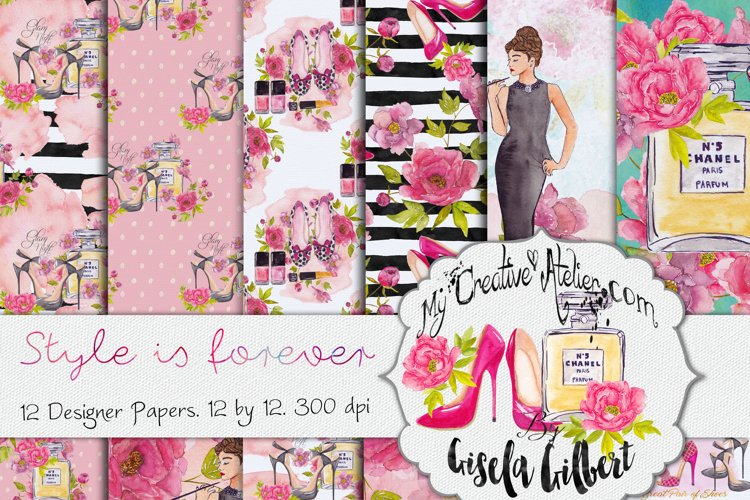 Digital Paper watercolor Style is forever example image 1