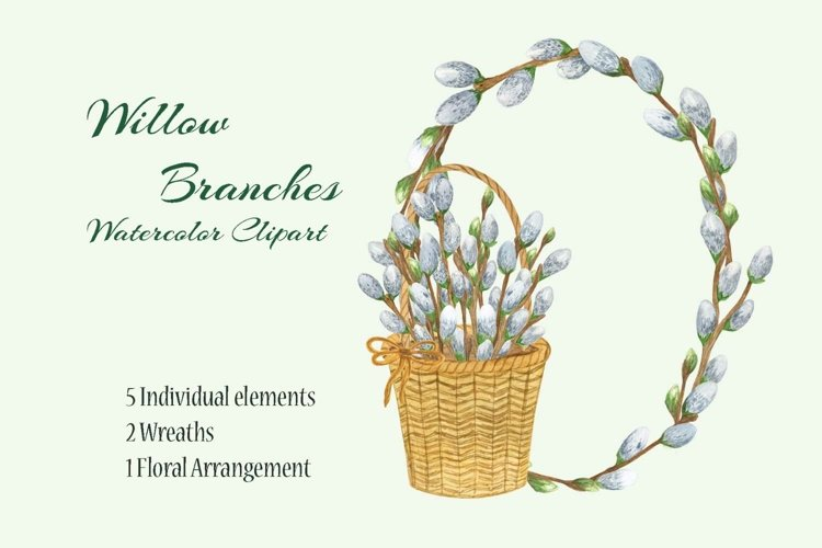 Watercolor willow branch clipart Easter spring holiday decor