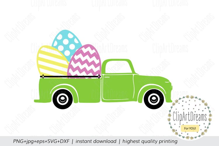 Easter egg truck Svg, Happy Easter truck Cut File Silhouette example image 1