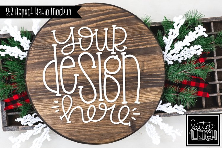 Wood Round Christmas Mockup with Buffalo and Snow Accents example image 1