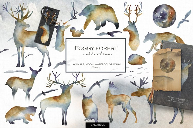 Foggy forest collection. Watercolor animals.