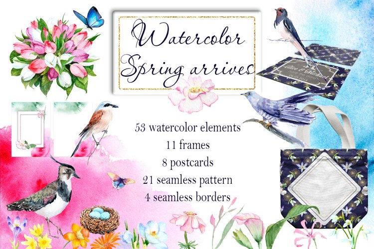 Watercolor Spring arrives example image 1
