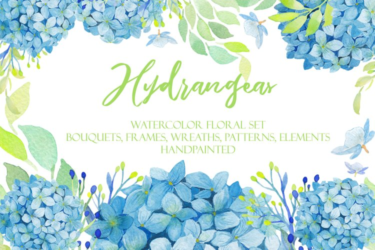 Watercolor Hydrangea Floral Clipart example image 1