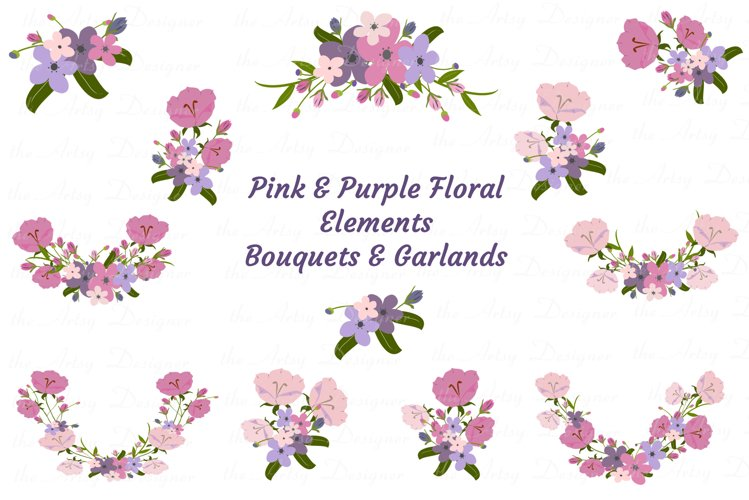 Pink Purple Flowers Arrangements Swags Sublimation PNG example image 1