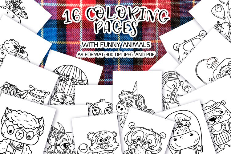 16 coloring pages with funny animals bundle
