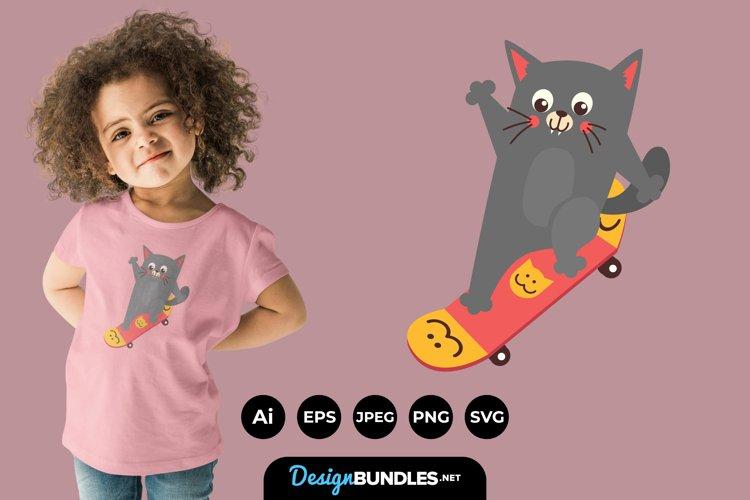 Skateboarding Cat for T-Shirt Design example image 1