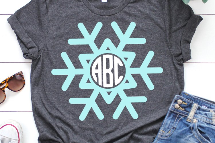 Snowflake Monogram SVG, DXF, PNG, EPS example