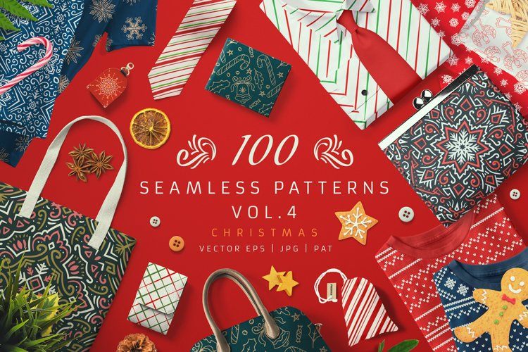 100 Seamless Patterns Vol.4 Christmas example image 1
