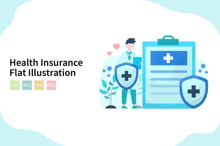 Health Insurance Flat Vector Illustration example image 1
