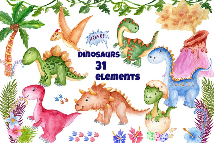 Watercolor Dinosaur Clipart example image 1