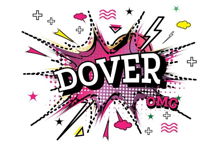 Dover Comic Text in Pop Art Style Isolated example image 1