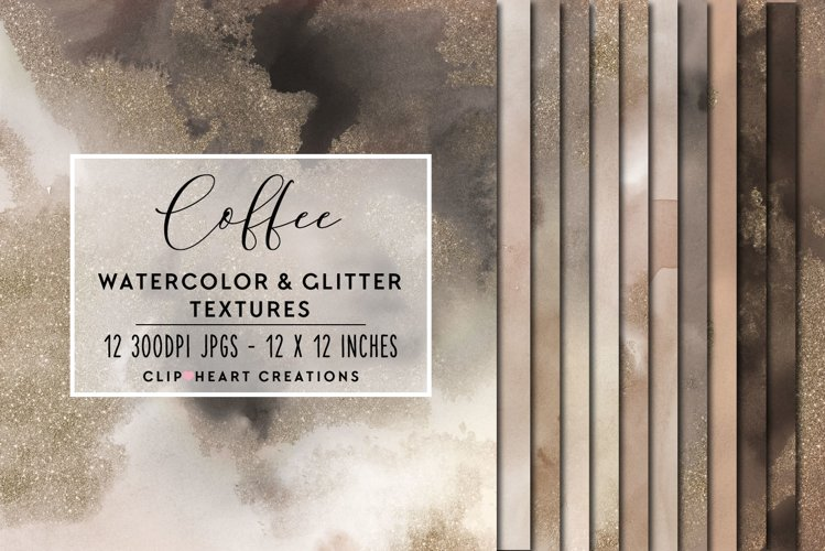 Coffee Glitter Watercolor Digital Papers example image 1