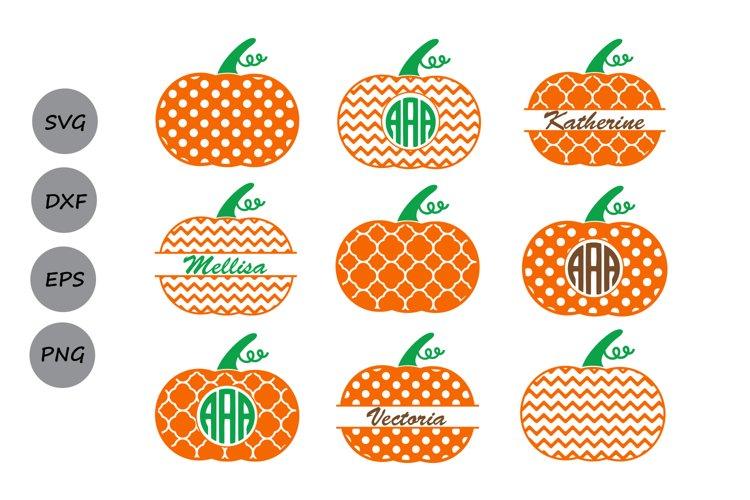 Thanksgiving Pumpkin Monogram SVG, Thanksgiving svg Polka. example image 1