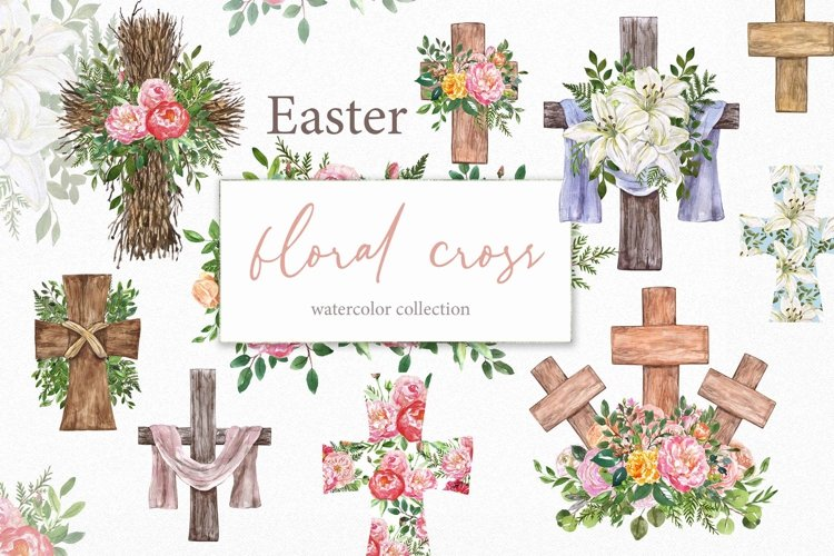 Watercolor Easter Cross Floral Wreath Spring Clipart example image 1