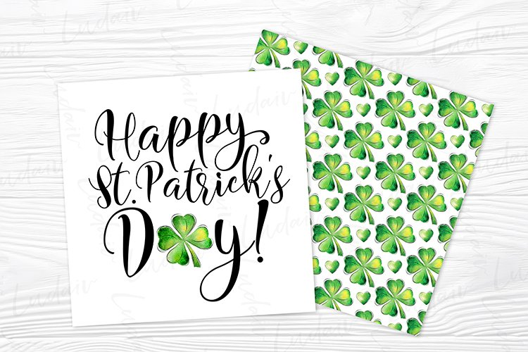 St. Patrick's Day Watercolor Shamrock card design JPG example image 1
