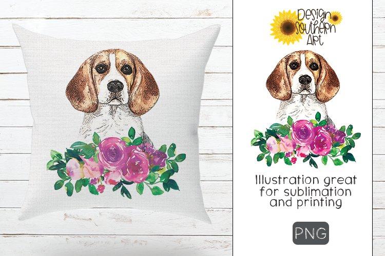 Sublimation Floral Beagle Design example image 1