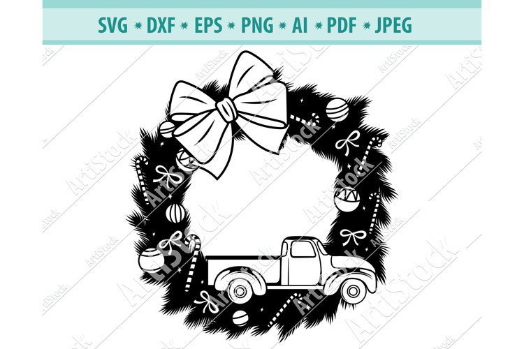 Christmas Wreath svg, Christmas truck svg, Png, Dxf, Eps example image 1