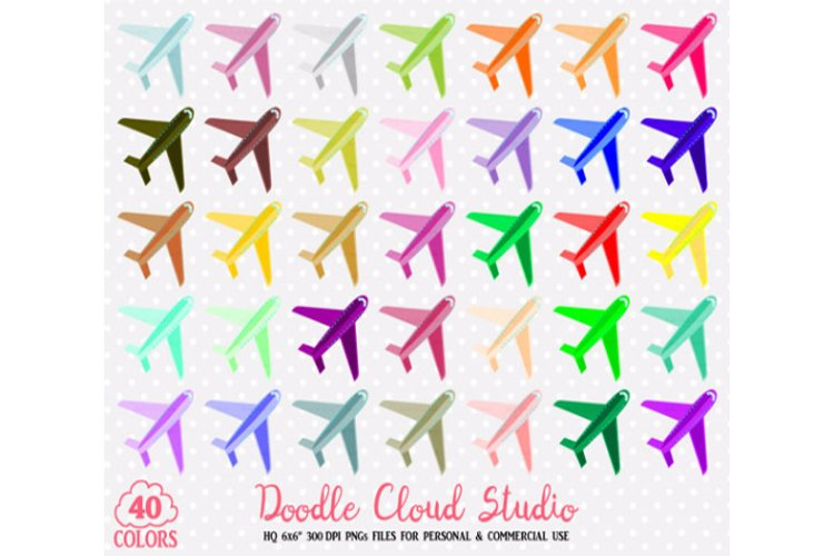 40 Colorful Airplane Clipart Travel Plane Holyday Planner Sticker Airport icon PNG with Transparent Background for Personal & Commercial Use example image 1