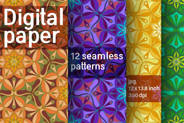 Set of 12 digital abstract seamless patterns. Digital paper example image 1