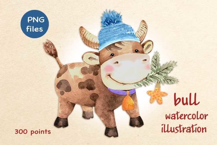 cute bull oriental new year symbol watercolor illustration example image 1