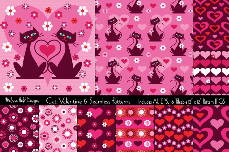 Cat Valentine & Seamless Patterns example image 1