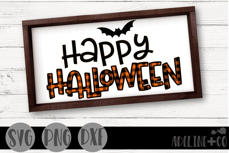 Happy Halloween plaid SVG, PNG, DXF example image 1