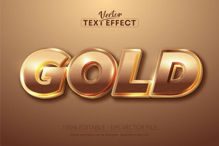 Gold text, shiny gold color style editable text effect