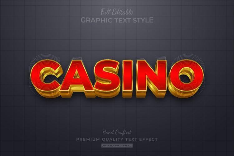 Casino Gold Editable Eps Text Style Effect Premium example image 1