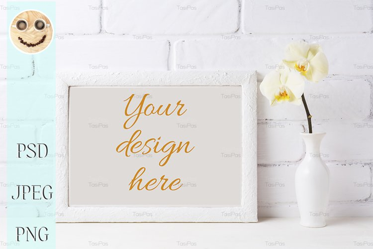White frame mockup with soft yellow orchid in vase example image 1