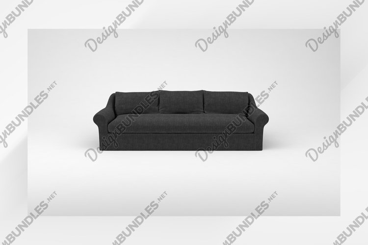 Charcoal sofa with pillows front view furniture 3d rendering example image 1