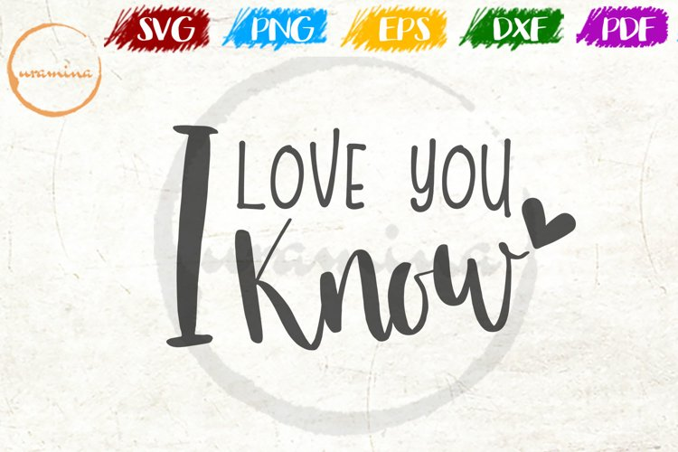 I Love You I Know Love Couple Anniversary Quote Art example image 1