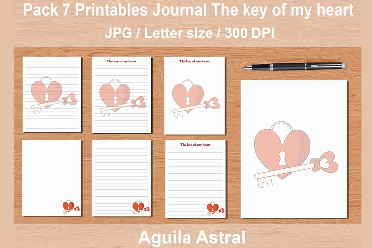 Pack 7 printables journal pages The key of my heart example image 1