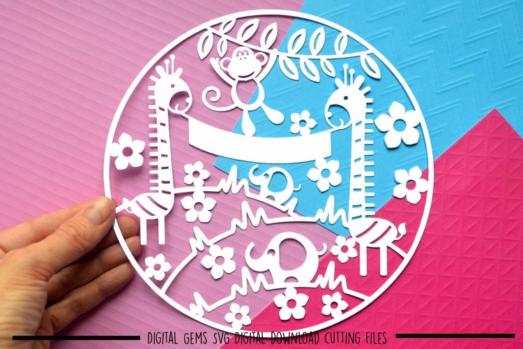 New baby paper cut SVG  DXF  EPS files example image 1