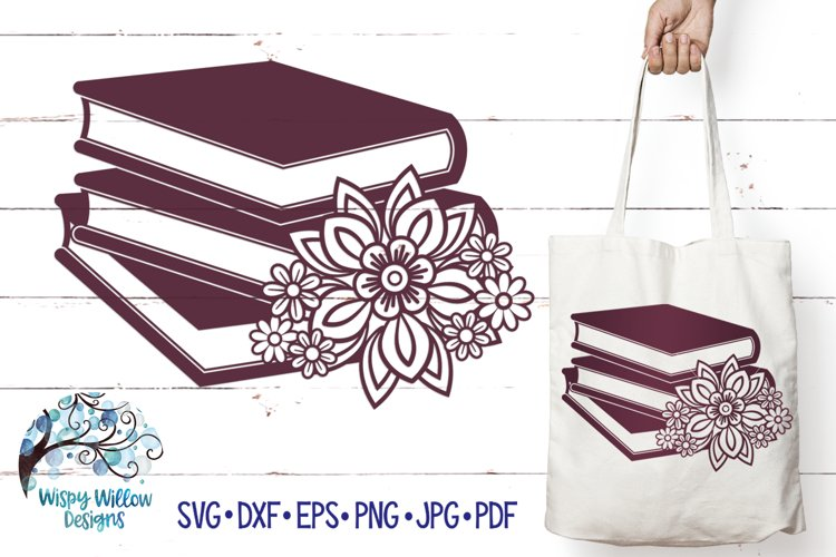 Floral Book Stack SVG   Books SVG Cut File example image 1