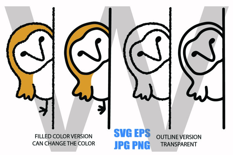 Cute Peeping Owl Line Drawing- SVG-EPS-JPG-PNG