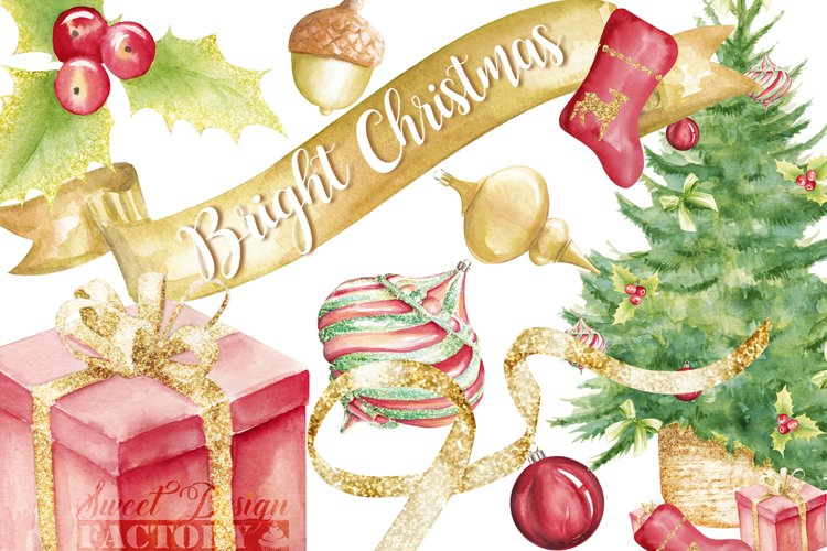 Vintage Holiday Clipart example image 1