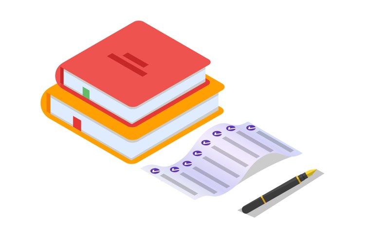 Online testing,E-learning, education isometric concept.