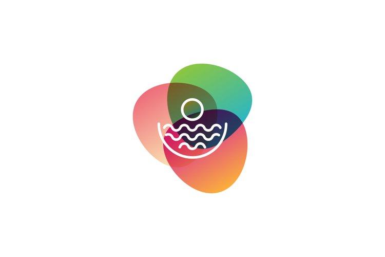 beach sunset monoline logo vector illustration example image 1