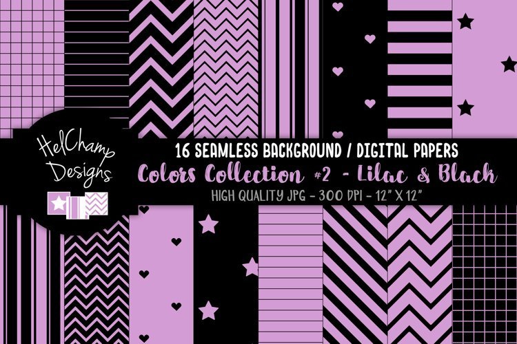 16 seamless Digital Papers - Lilac and Black - HC160 example image 1
