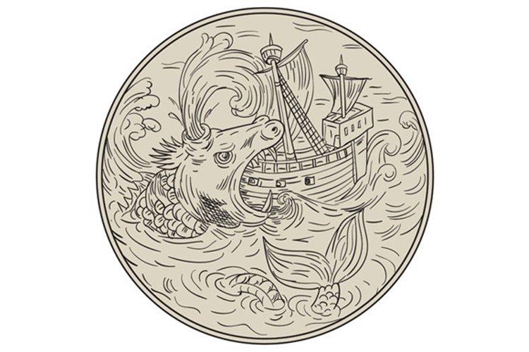 Ancient Sea Monster Attacking Sailing Ship Circle Drawing example image 1