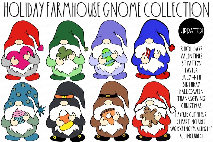 Farmhouse Holiday Gnome Collection SVG DXF & Clipart Set example image 1