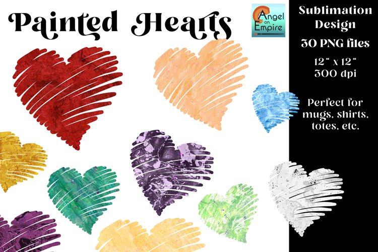 Painted Hearts in 30 colors for sublimation, scrapbooking