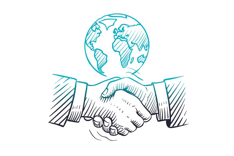 Hand drawn handshake. International business concept with ha example image 1