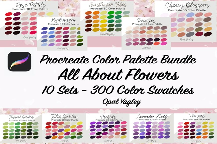 All About Flowers Procreate Color Palette / 300 Colors