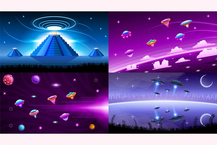 Set Collection Ufo Background Vector Landscape This pack example image 1