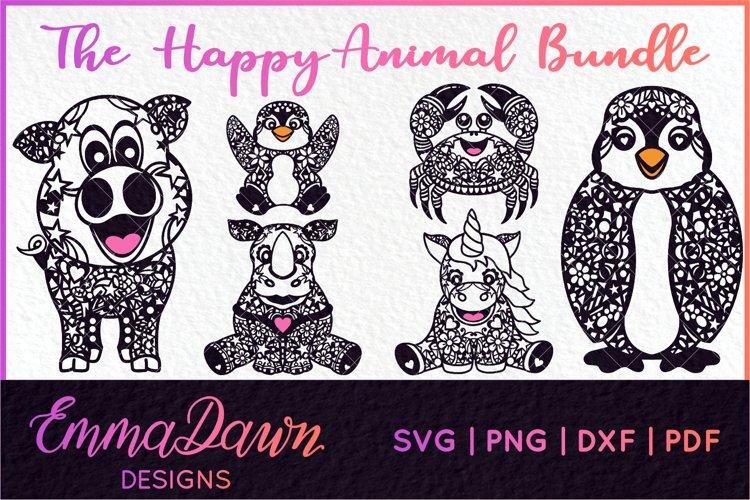 THE HAPPY ANIMAL BUNDLE of 6 ZENTANGLE SVG DESIGNS example image 1