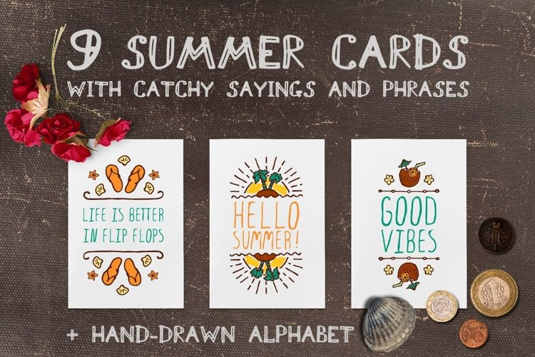 Hand-sketched summer cards | SVG EPS AI PNG PSD JPEG example image 1