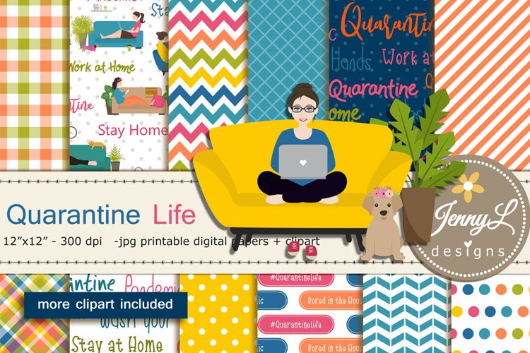 Quarantine Life Digital Papers and Clipart example image 1