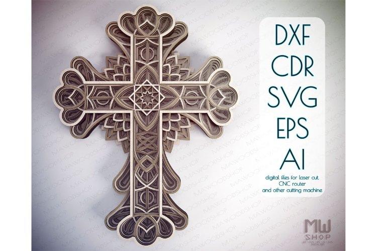 Cr15 - Layered Cross, Laser cut Cross, Cricut Cross SVG example image 1